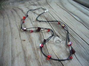 Black Silk & Red Swarovski Glass Bead Necklace