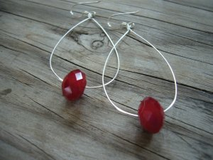 Eye Catching Long Silver Hoop with Bright Red Glass Bead