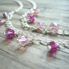 Lovely Pink Crystals and Silver Chain Necklace