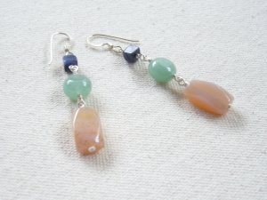 Sterling Silver Wire Wrapped Cool Toned Stone Earrings