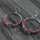 Natural Pink & Silver Hoop Earrings