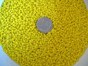 Size 11 Matsuno seed beads opaque yellow 15 grams