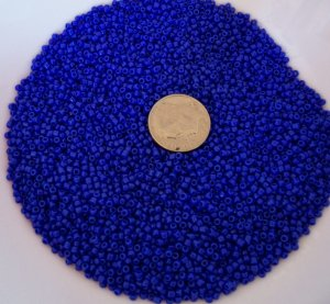 Size 11 Matsuno seed beads opaque dark cobalt blue 15 grams
