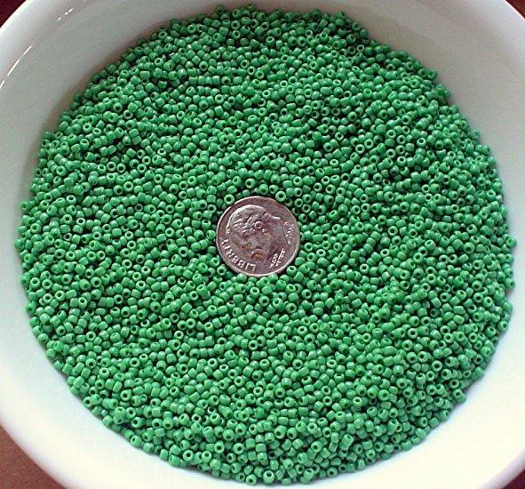 Size 11 Matsuno seed beads opaque green 15 grams