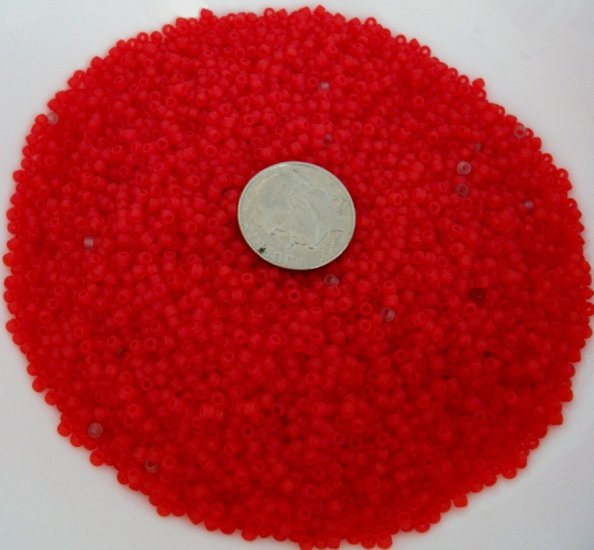 Size 11 Matsuno seed beads matte red 15 grams