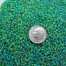 Size 11 Celestial rainbow beads green 15 grams