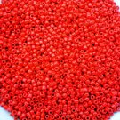 Size 8 seed beads Opaque Ruby 15 grams
