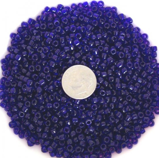 Size 6 transparent seed beads 25 grams Cobalt Blue