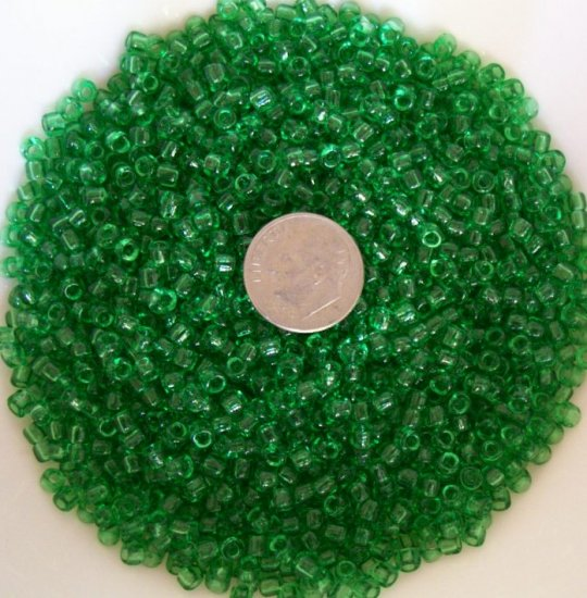 Size 6 transparent seed beads 25 grams Grass Green