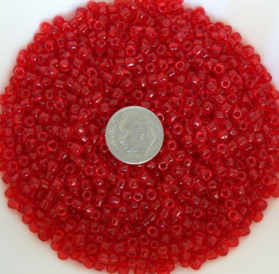 Size 6 transparent seed beads 25 grams Red