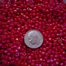 Size 6 seed beads Opaque Rainbow luster 25 grams Ruby