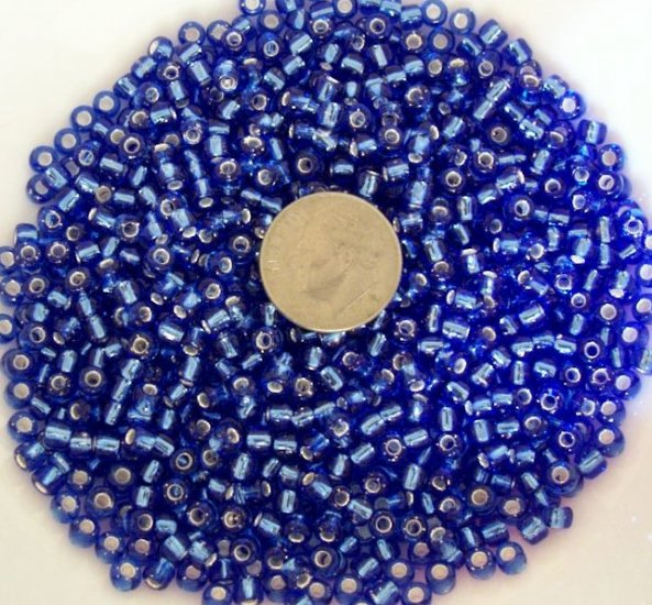 Size 6 seed beads Silver lined 25 grams Blue