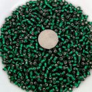Size 6 seed beads Silver lined 25 grams Green