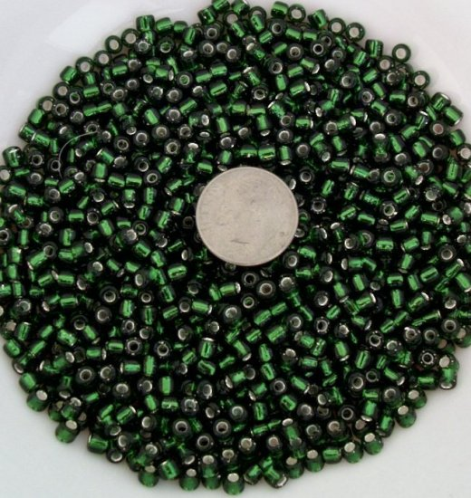 Size 6 seed beads Silver lined 25 grams Olive