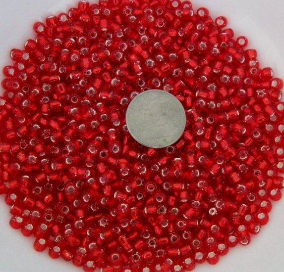 Size 6 seed beads Silver lined 25 grams Red