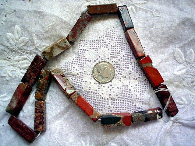 Gemstone stone beadsJasper mosaic brick 20X8 mm 16 bead strand
