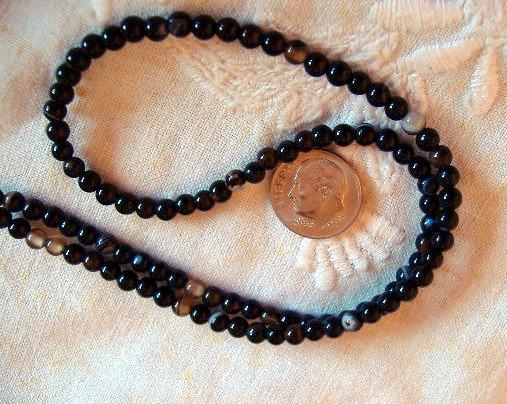 Black agate gemstone stone beads round 4mm 15 inch strand