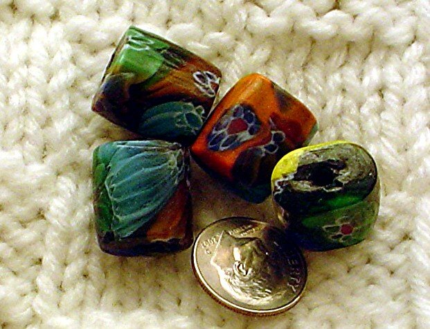 Handmade glass Venetian style flower beads Flattened drum 4 bead package