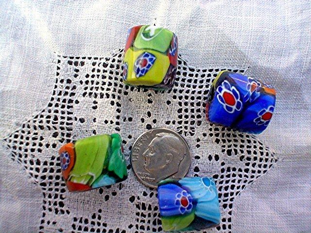 Handmade glass Venetian style flower beads short drum pack of 4