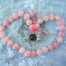 Gemstone stone beads Pink quartz puff heart 14-15mm 16 inch strand
