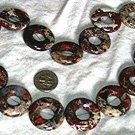 Gemstone stone beads Breciated jasper donut. 25mm 16 inch strand