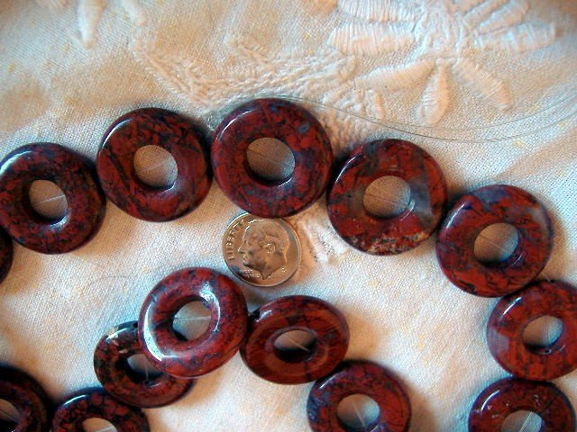Gemstone stone beads Red breciated jasper donut . 25mm 16 inch strand