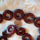 Gemstone stone beads Red breciated jasper donut . 25mm 16 inch strand