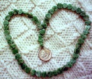 Gemstone stone beads Ching Hai flat jade hearts 8mm 15 inch strand