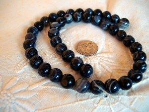 Gemstone stone beads Black striped agate 10mm 15 inch strand