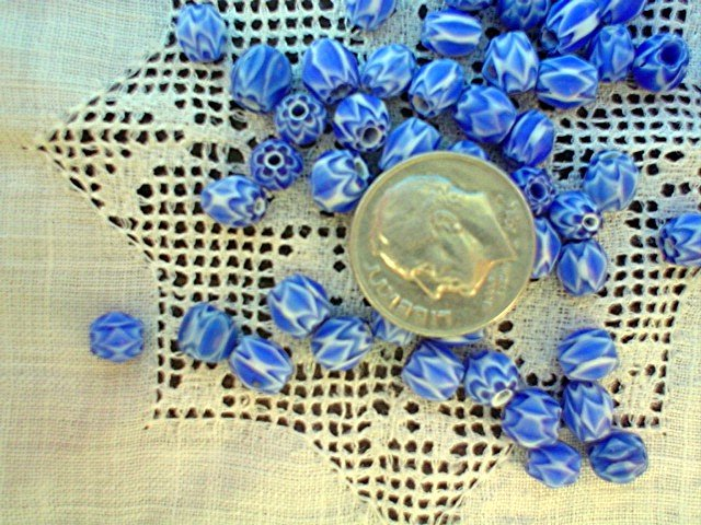 Handmade chevron beads glass 6 mm 25 grams blue