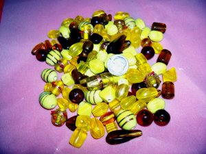 Bulk mixed beads.  Hand made.1 pound yellow and amber