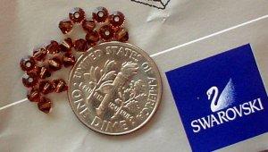 Swarovski crystal beads diamond cut bicone 3mm Colorado Topaz 20 bead pack.
