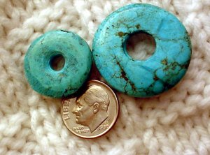 Turquoise donut pendants undrilled 21mm and 29mm 2 per pack a014