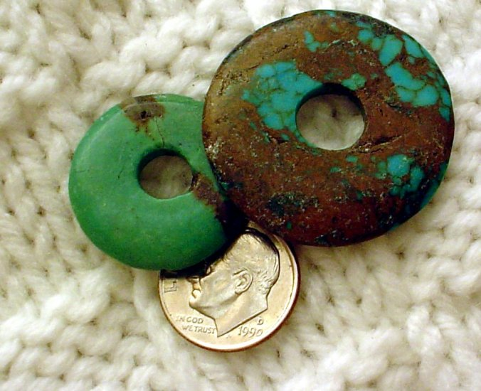 Turquoise donut pendants undrilled 23mm and 31 mm 2 pack a017