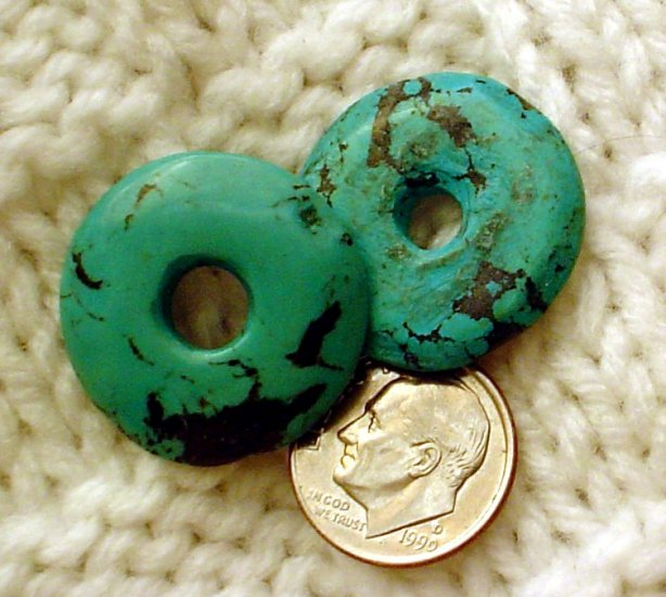 Turquoise donut pendants undrilled 23mm and 24mm 2 pack a018