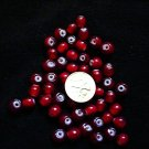 50 round cranberry beads clear cranberry glass Milk glass centers 8mm