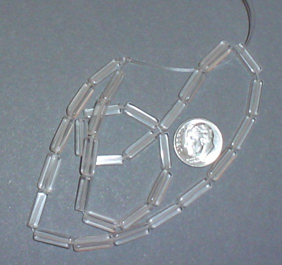 Clear glass beads 4 X 13 mm square 16 inch strand