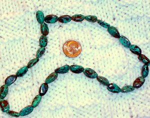 Turquoise tumbled nugget beads Gemstone stone 8 to 14mm stabilized 16 inch strand