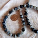 Gemstone stone beads Gray striped agate 8mm round 15 inch strand.