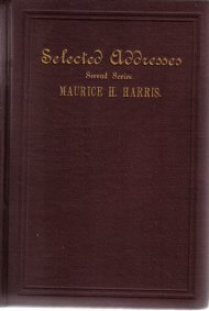 Selected Addresses Second Series Maurice Harris 1895 HC