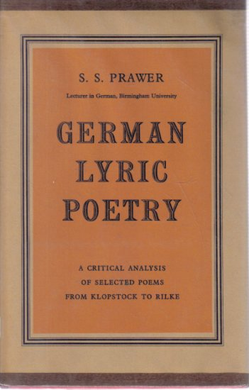 German Lyric Poetry S.S. Prawer HC DJ