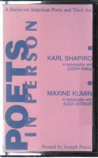 Poets in Person Karl Shapiro Maxine Kumin audio cassette