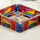 Murano Glass Multicolor Handpainted Square Ashtray NEW  IN BOX