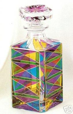 Murano Glass Multicolor Liquor Square Decanter with Stopper NIB