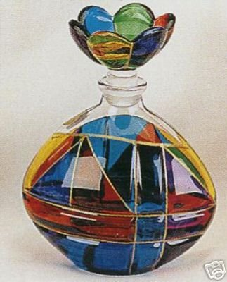Murano Italian Art Glass Multicolor Perfume Bottle - Oval