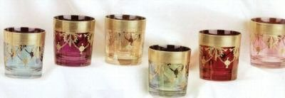 Murano Scotch Glasses Set of 6 Handpainted and Made in Italy Gold Multi