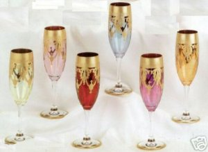 Murano Italy Stemware Champagne Glasses Set of 6 Multicolor