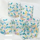 New Set of 6 Murano Italy Lo Ball Scotch Glasses Handpainted Leaves