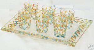 6 Pc Murano Gold and Multicolor Leaves Liquor Drinking Glasses NIB Made In Italy