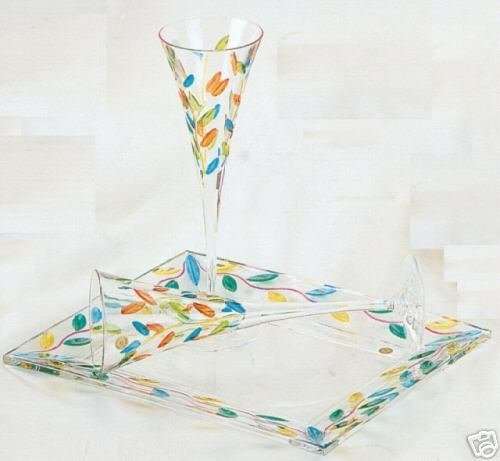 Pair of Elegant Multicolor Leaves Murano Glass Champagne Flutes